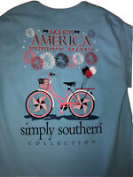 Simply Southern Shirt Womens Sz Large Blue Red Make America Preppy Again Ladies