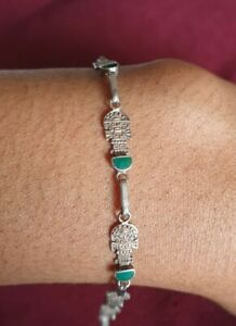 Sterling silver peridot bracelet finest quality with green stones - Preowned