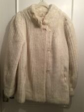 Vintage Ladies Women's Medium White Faux Fur Winter Warm Coat