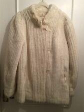 Vintage Ladies Women's Medium White Faux Fur Winter Warm Coat