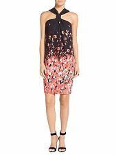NEW St. John Black Flamingo Degrade Floral Print Halter Dress (CURRENT)- 10 $995
