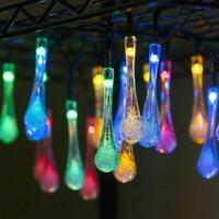 LED Solar Garden String Lights Fairy Water Drop Light String Garden Party New