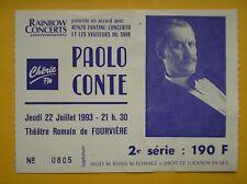 RARE / TICKET Paolo Conte à LYON 1993 - SPECTACLE Chant CONCERT LIVE