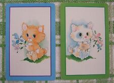 2 x VINTAGE PLAYING/SWAP CARDS - PAIR - CUTE LITTLE ANIMATED CATS / KITTENS