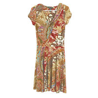 LRL RALPH LAUREN S Dress Red Brown Paisley Stretch Faux Wrap Short Sleeve Deco