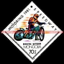 MOTORING : SPEEDWAY 1981 - MONGOLIA MONGOLIE Moto Timbre Poste
