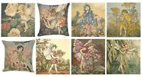 "CICELY BARKER FLOWER FAIRIES 14"" BELGIAN TAPESTRY CUSHION COVERS + ZIP, LICENCED"