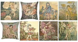 """CICELY BARKER FLOWER FAIRIES 14"""" BELGIAN TAPESTRY CUSHION COVERS + ZIP, LICENCED"""