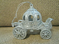 """NEW! Silver glitter carriage Christmas ornament 4"""" """"like Cinderella's"""""""