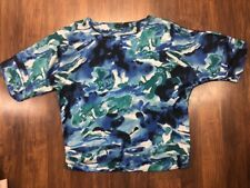 Casual Express Sz L Blue Green Watercolor Oversize Short Sleeve Silky Blouse