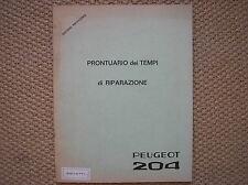 PEUGEOT 204 PRONTUARIO DEI TEMPI DI RIPARAZIONE 1965