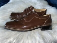 Zengara Shoes Men's Size 9M Brown Leather Lace Up Square Toe