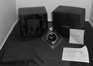 GENTLY USED MOVADO MUSEUM DIAL MODEL TCL000169M CRYSTAL CUBE CLOCK W/OE BX-BKLTS