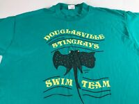Douglasville Stingrays T-Shirt VTG Adult L/XL Swim Team USA Made Green Yellow