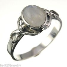 size 7 Us, Solid Sterling Silver Rainbow Moonstone Celtic Style Silver Ring,
