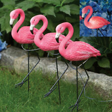 Set of 3 Solar Powered LED Pink Flamingo Sculpture Garden Stakes