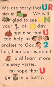Artist impression C-1910 Rebus Puzzle Religion Get Well Postcard 20-10434