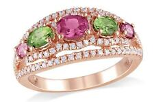Multi-Color Gemstone and CZ ring in Pink Rhodium plated Sterling Silver  Size 8