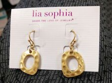 "NWT lia sophia DEWY 1-1/4"" drop dangle matte gold hammered geometric earrings"