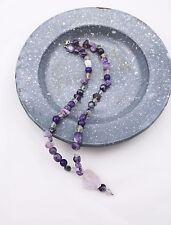 Steinkette Kette Collier 925 Silber Amethyst Fluorit Charoit Quarz lila violett