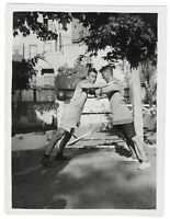 Antique gay int photo handsome athlete sportsman guys hugging affection *7242