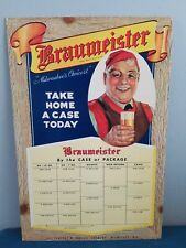 VTG 1930s Braumeister Beer independent brewery Milwaukee cardboard sign rare