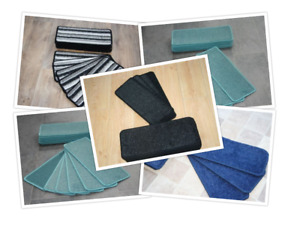 Stair Pads 2 Sizes few designs Stair Case Carpet Tread Pads Plain Glitter Stripe