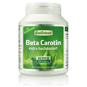 Greenfood Beta Carotin, 50.000 iE, extra hochdosiert, 120 Kapseln – vegan