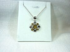 1.65ct Natural Citrine Sterling Silver Rhodium White Gold Plate Necklace