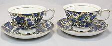Royal Devonshire Fine White Porcelain  Paisley Blue 2 Cup and Saucer Set