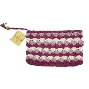 Vintage Deadstock Saks Fifth Avenue Mauve Straw Clutch Striped Magenta Bag