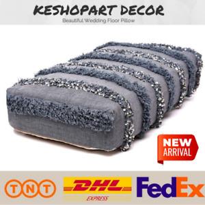 Vintage Moroccan Wedding Blanket, Handmade Floor Pillow Handira with Sequins New