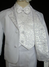Baby Boy Children Formal Tuxedo Communion Baptism Church Suit White sz: S to 7