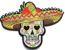 "4"" Skull Sombrero Mexican Embroidered Patch Iron On Day of Dead Sugar Quality"