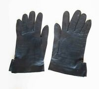 Vintage 1950's Made in France Marshall Field Womans Black Leather Gloves 6 3/4