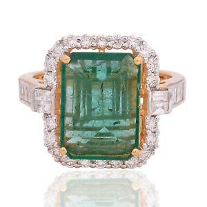 3.75 TCW Emerald Gemstone Ring 18k Yellow Gold SI/HI Baguette Diamond Jewelry
