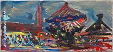 Auer Dult mit Karussell am Abend, Öl-Gemälde Miniatur, Fred Nömeier *1938