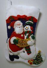"Bucilla Finished 15"" Santa & Snowman Caroling Felt Applique Stocking"