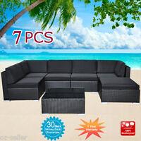 Wicker Rattan Garden Set Indoor Outdoor Sofa Lounge couch Setting Furniture 7Pcs