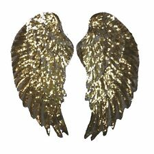 Super Sequin Gold Wings XXL (Iron on) Embroidery Applique Patch Sew Iron Badge