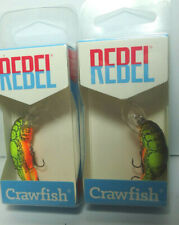 REBEL TEENY WEE CRAWFISH F7767 CHARTREUSE BROWN COLOR X 2 NEW SHIPS FROM U.S