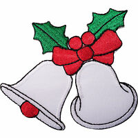 Christmas Bells Holly Red Bow Embroidered Iron / Sew On Patch Decoration Badge