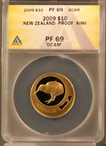 New Zealand 2009 10 Dollar 1/4 oz Gold Kiwi Proof Coin PF69DCAM ANACS ~ Scarce
