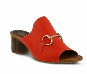 New Spring Step DEISYLUV-RD Red Leather Mary Jane Slide Block Heel Sandals