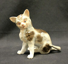 Antique Dresden Porcelain Cat Figurine Gray Brown Spots