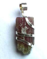 16.00 ct Watermelon Tourmaline Crystal in Sterling Silver Art Wrap Pendant