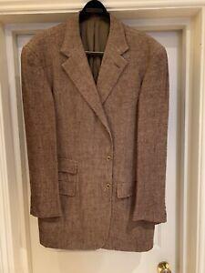 Mens Brown Silk / Linen Blazer / Jacket 44L Ralph Lauren Purple Label
