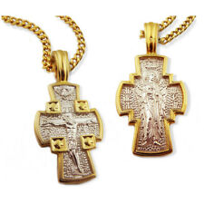 Crucifix Guardian Angel Reversible Cross Sterling Silver 925 Gold Plate