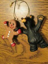 Jeff Fleming BearFoots Cub Bear with Gingerbread Man Big Sky Carvers Ornament