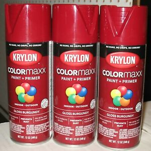 3 New Krylon Colormaxx All-In-One Gloss Burgundy In/Outdoor Wood+ Paint